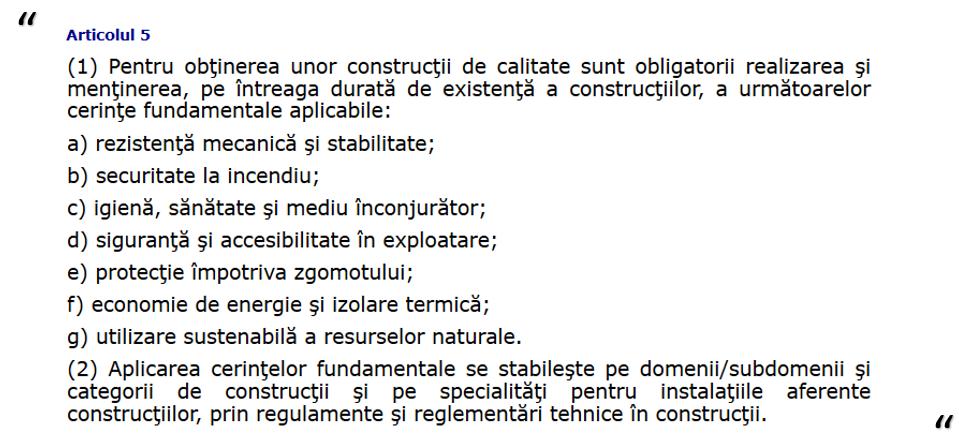 Legea 10/1995 privind calitatea în construcții- bază legală Software Calcul G
